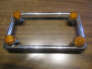 Chrome Motorcycle License Plate Frame With Yellow Reflector Fasteners