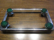 Chrome Motorcycle License Plate Frame With Green Reflector Fasteners