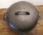 Vintage Griswold 7 Cast Iron Andrdquo Tite Top Dutch Oven Andrdquo W/matched Lid-sits Flat