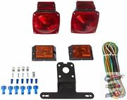 Rear Led Submersible Trailer Tail Lights Kit Waterproof Boat Marker Truck Round