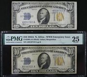 Pair 10 1934 North Africa Mule Silver Cert. A92167315a And 1934a A92167121a Pmg25
