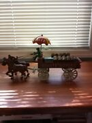 Schultz Beerandale Cast Iron Two Horse Wagon With Dog