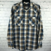 Pendleton Frontier Mens Large Long Sleeve Western Plaid Pearl Snap Shirt L