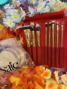 🌸luxie 8 Piece Glitter And Gold Brush Set Wred Case🌸w 3 Mup Puffs🌸