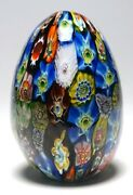 Small Colorful Murano Hand Cooler Or Egg Shaped Millefiori Paperweight