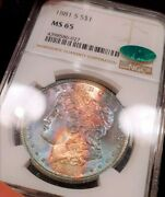 1881-s Ngc Ms65 Cac Monster Tape Tab Rainbow Toned Color Morgan Luster Bomb