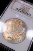1904-o Ngc Ms63 Eor Rainbow Obverse Toned Color Morgan End Roll Luster Bomb