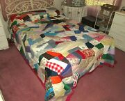 Vintage Handmade Very Large Crazy Quilt From Lancaster Pa 50s 60s 70s Fabrics