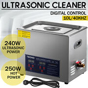 Ultrasonic Cleaner Stainless Steel 10l Industry Heated Heater W/ Timer Power