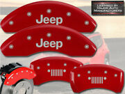 2018-2021 Jeep Compass Front + Rear Red Mgp Brake Disc Caliper Covers Grill