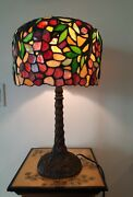 Large Multi Color Stained Glass Floral Leafs Style Lamp Size 23