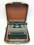 Vintage Used Green Smith-corona Silent-super Portable Typewriter With Case Parts