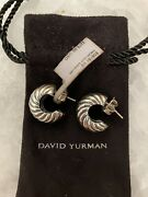 Nwt David Yurman Authentic Sterling Silver W/14k Gold Posts Cable Hoop Earrings