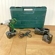 Hitachi Wh 14daf2 14.4v Compact Cordless Impact Driver Drill Kit W/ Case Tested