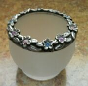 Partylite Flower Wreath Votive Candle Holder Frosted Glass Pewter Rhinestones