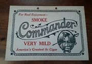 Commander Very Mild 5c Cigar Cardboard Double Sided Store Sign