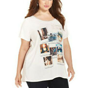 Style And Co 3x Short Sleeve Snapshot Print Embellished Top Plus Size New F/s