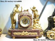 Baroque Art Sculpture Copper Brass Gilt Angel Belle Marble Base Mechanical Clock