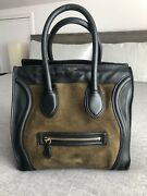 Authentic Celine Luggage Bag Micro Rare Black Leather Green Suede Color