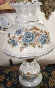 Vintage Electric Hurricane Lamp Blue Floral Accurate Casting Co 3 Way Light Euc