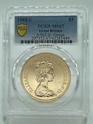 🌟1984 Gold Sovereign Great Britain 5 Pounds Graded By Pcgs Ms67