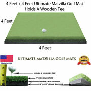 4and039 X 4and039 Golf Chipping Driving Range Tee Line Practice Mat - Holds A Wooden Tee