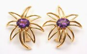 Vintage And Co Fireworks 18k Yellow Gold Amethyst Earrings