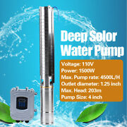 4 In Dc Deep Well Solar Water Bore Pump Kit 110v 2hp Irrigation Farm Submersible