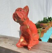 Red Bulldog Vtg Carnival Chalkware Circus Prize Toy Figurine Antique Dog Statue