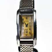 Cyma Curved Stepped Stainless Steel 15 Jewels 1930s Staybrite Manual Winding