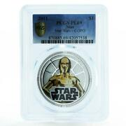 Niue 1 Dollar Star Wars Series C - 3po Pl69 Pcgs Silverplated Coin 2011