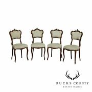 Antique French Louis Xv Style Set 4 Carved Walnut Dining Chairs
