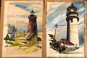 Set Of Two 1961 Autographed Vintage Original Lighthouse Watercolor Paintings