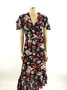 Lily And Lionel Black Wrap Dress With Floral Pattern Nwt - Size S