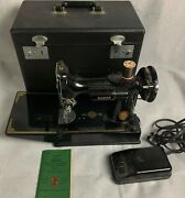 Antique Singer Featherweight Sewing Machine In Original Box With All Attachments