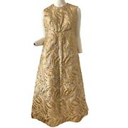 Vintage 60s Gold Brocade Metallic Mod Party Evening Dress Gown Large