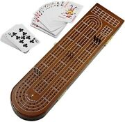 Wood Cribbage Popular Board Game Set 3 Tracks With Metal Pegs Card Storage Area