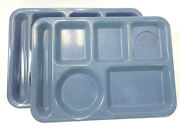 Set Of 2 Texas Ware School Cafeteria Lunch Food Tray Model 146 Blue