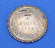 1896 Victoria Silver Canadian 5 Five Cents Coin Unc Uncirculated
