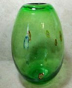 Green Millefiori Art Glass Vase Egg Oval Shaped With Bubbles Hand Blown 9 Heavy