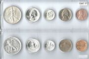 1947-p Us Silver Mint Set - 5 Choice Bu Coins In A Whitman Plastic Holder