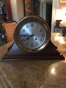 Chelsea 6andrdquo Vintage Shipandrsquos Bell Clock W/factory Mahogany Base Key Papers