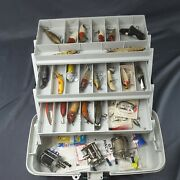 Vintage Fishing Lures Plano Tackle Box Reels Spinners Spoons