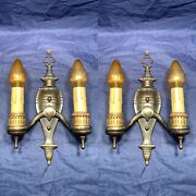 Wow Nice Antique Two Arm Wall Sconces Pair Rewired Great 120e