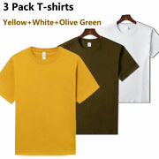 3 Pack Men Plain T-shirts Short Sleeve Couples Tees Combed Cotton Casual Tshirts