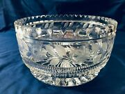 Large Heavy Cut Crystal Glass Bowl Etched Tooth Rim Clear Lead 10 X 5