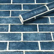 17.71 X 118 Blue Brick Wallpaper Peel And Stick Self-adhesive Removable