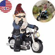 Novelty Naughty Garden Gnomes Motorcycle Statues Ornaments Home Decor Gift Us