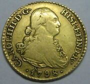 1798 Madrid 1 Escudo Charles Iv Spain Gold Doubloon Spanish Colonial Era