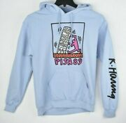 Keith Haring Pisa 89 Hoodie Blue Hooded Sweatshirt Graffiti Pop Art Medium Nwot